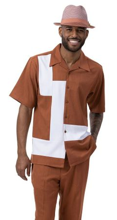 Montique Leisure Walking Suit Cognac White Block Front 2077