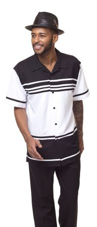 Montique Leisure Suit Mens Black White Short Sleeve Walking Outfit 1878 - click to enlarge