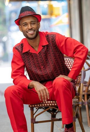 Montique Casual Walking Suit Mens Red Fashion Pattern 2177