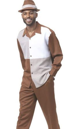 Montique Leisure Suit Mens Brown Panel Front Long Sleeve 1982
