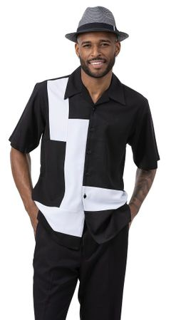 Montique Leisure Walking Suit Black White Block Front 2077