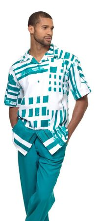 Montique Leisure Walking Suit Mens Emerald Fancy Pattern Outfit 1839 - click to enlarge