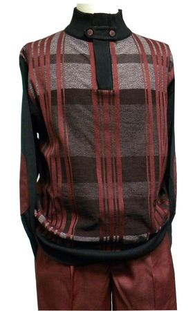 Montique Men Burgundy Fancy Style Sweater and Pants Sets 1506