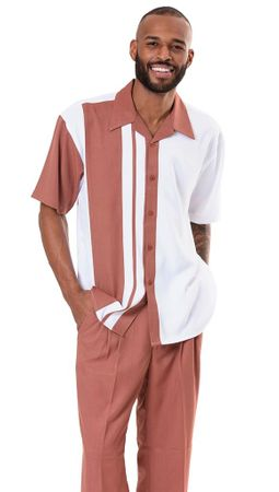 Montique Men Rust White Short Sleeve Walking Suit 1970 L, XL