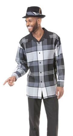 Montique Men's Black Big Plaid Casual Walking Suit 1817 Size XL,3XL