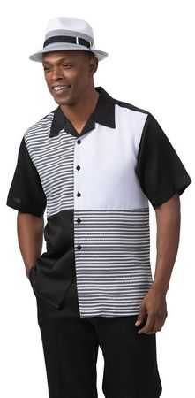 Montique Men's Short Sleeve Walking Suit Black White Block 2082