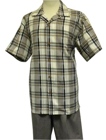 Montique Men's Brandy Plaid Casual Fashion Short Set Outfits 785
