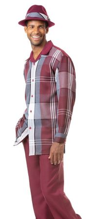 Montique Men's Burgundy Big Plaid Casual Walking Suit 1817 Size L,XL