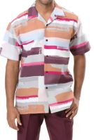 Montique Men's Burgundy Pastel Pattern Short Sleeve Walking Suit 631