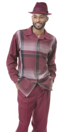 Montique Men's Burgundy Plaid Leisure Walking Set 1824 Size L/34