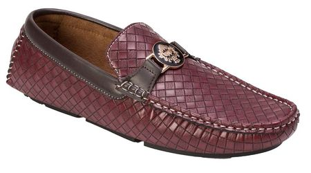 Montique Men's Burgundy Woven Style Casual Driver Shoes S74