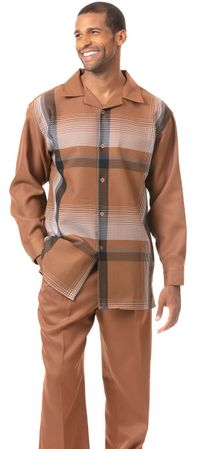Montique Men's Camel Tan Plaid Party Outfit 1824 Size M/33