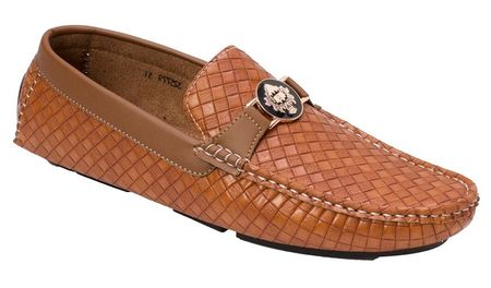 Montique Men's Camel Woven Style Casual Driver Shoes S74