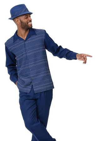 Montique Leisure Suit Men's Navy Fashion Pattern 2014