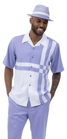 Montique Short Set Men's Lavender White Block Pattern 7078 Size L, 2XL