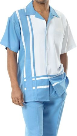 Short Sleeve Walking Suit Mens Sky Blue Panel Outfit Montique 1777 - click to enlarge