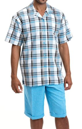 Montique Men's Sky Plaid Casual Fashion Short Set Outfits 785 - click to enlarge