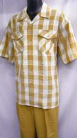 Montique Mens Apricot Plaid Short Sleeve Walking Suits 374