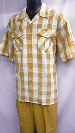 Montique Mens Apricot Plaid Short Sleeve Walking Suits 374 Size M/33