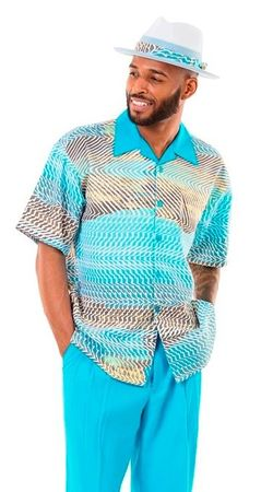 Montique Mens Aqua Blue Pattern Short Set 71915 Size M