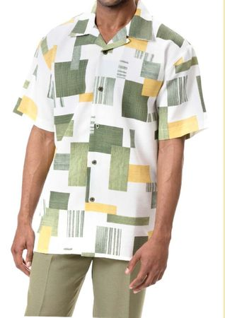 Montique Mens Spruce Plaid Short Sleeve Walking Suits 639 - click to enlarge