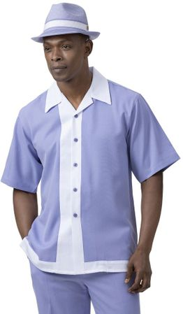 Montique Short Sleeve Walking Suit Lavender White Panel 2072
