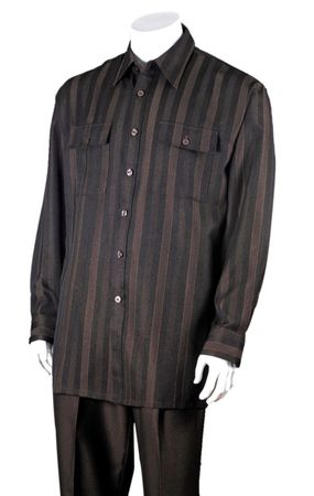 Fortini Mens Brown Stripe Casual Two Piece Walking Set 2761