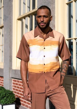 Montique Men's Short Sleeve Walking Suit Brown Beige 2018