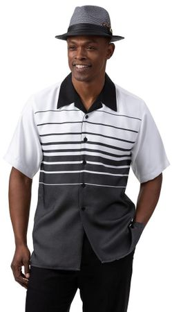 Montique Walking Suit Mens Short Sleeve Black Stripe 2003