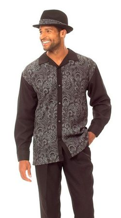 Montique Mens Black Paisley Front Casual Walking Suit 1626 - click to enlarge
