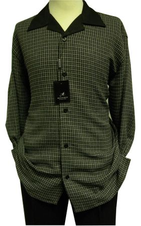 Montique Men's Sage Black Tweed Fabric Walking Suit 1139
