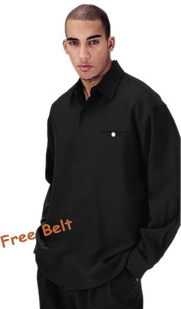 Fortini Big Mens Size Black Long Sleeve Walking Suits 2612X - click to enlarge