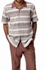 Montique Mens Short Sleeve Dressy Outfit Walking Set Taupe 1728 IS
