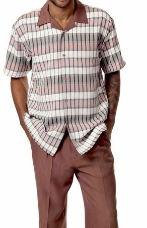 Montique Mens Short Sleeve Dressy Outfit Walking Set Taupe 1728 IS - click to enlarge