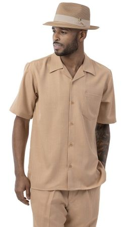 Montique Mens Short Sleeve Tan Walking Suit 696