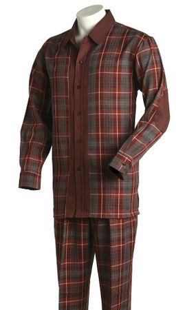 Tony Blake Bold Brick Color Plaid Mens Walking Suits 230  - click to enlarge