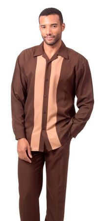 Montique Mens Brown Casual Leisure Walking Suit 1690