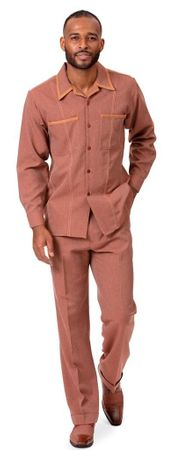 Montique Men's Cognac Denim Walking Suit Casual Outfit D-778
