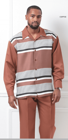 Montique Mens Rust Walking Suit Rugby Stripe 1962