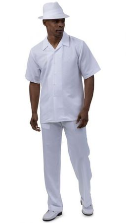 Montique Mens White Casual Walking Suit 2054 Size 2XL