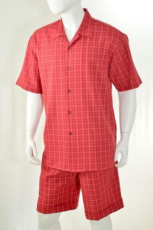 Christi Mens Red Plaid Casual Short Set 41402