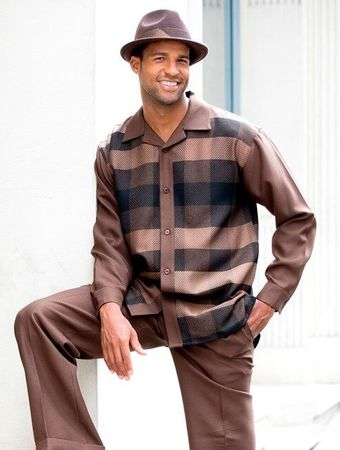 Montique Mens Brown Texture Plaid Leisure Walking Set 1628