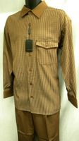 Montique Mens Cappuccino Brown French Cuff Walking Suit 1050