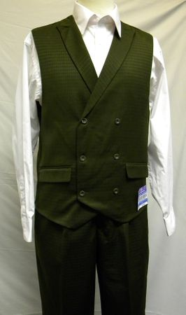 Blu Martini Olive Mat Vested Vest and Pants Outfit 5466-063