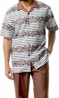 Montique Mens Short Sleeve Dressy Outfit Walking Suit Taupe 1742