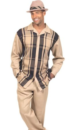 Montique Mens Tan Bold Plaid Long Sleeve Walking Suits 1778 - click to enlarge