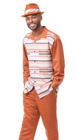 Montique Walking Suit Mens Cognac Pattern Long Sleeve 1923