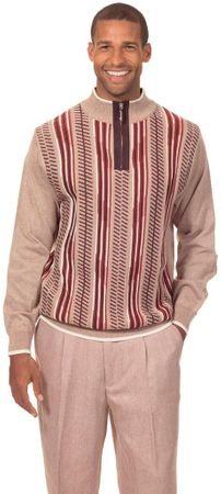 Montique Mens Fancy Sweater and Pants Set Beige 1703