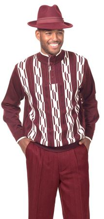 Montique Mens Fashion Sweater and Pants Set Burgundy 1702