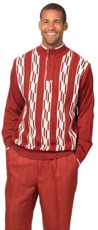 Montique Mens Rust Fashion Sweater and Pants Set 1702